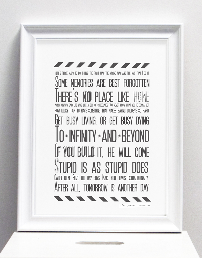 movie inspirational quotes karin akesson this print uses famous quotes ...